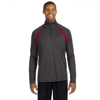 Quarter-Zip Men's Lightweight Pullover With Insets Dark Grey Heather/Sport Rd Sweater