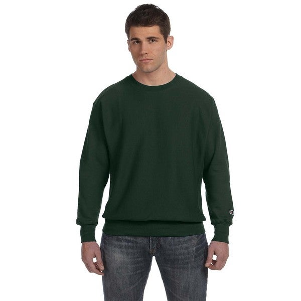 Mens Crew-Neck Dark Green Sweater