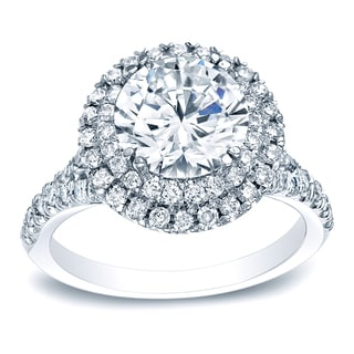 Auriya Platinum 1 5/8ct TDW Certified Round-Cut Diamond Double Halo Diamond Engagement Ring