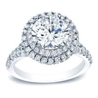 Auriya Platinum 1 5/8ct TDW Certified Round Diamond Halo Diamond Engagement Ring