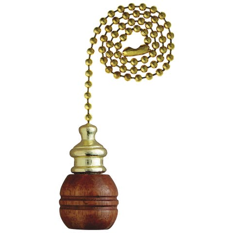 Westinghouse 7700700 Walnut Finish Sculptured Wooden Ball Pull Chain