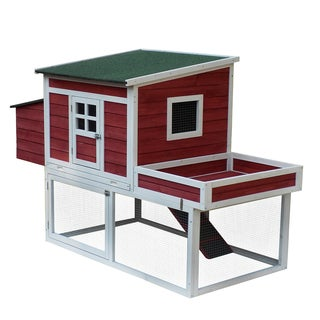 Pawhut Farmhouse Wooden 67-inch Chicken Coop With Display Top, Run Area, and Nesting Box