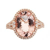 Anika and August 14K Rose Gold Morganite And Diamond Ring