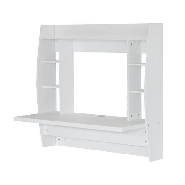 homcom white wood floating wall mount office computer desk