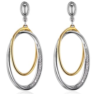 Annello by Kobelli 10k Two Tone Gold 1/10ct TDW Diamond Dangle Oval Edge Earrings (H-I, I