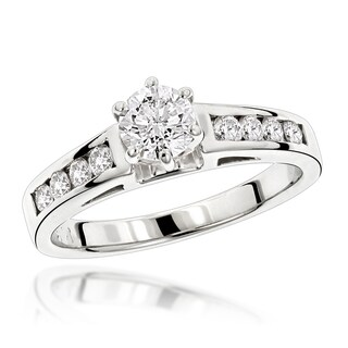 Luxurman 14k Gold 7/8ct TDW Designer Diamond Engagement Ring (G-H, SI1-SI2)