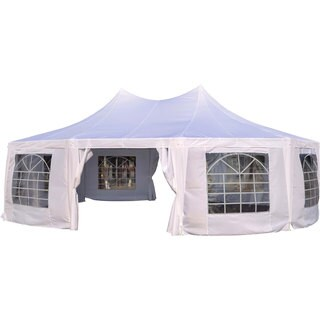 Outsunny White Plastic 29-foot x 20-foot Decagon 10-wall Party Canopy Gazebo Tent
