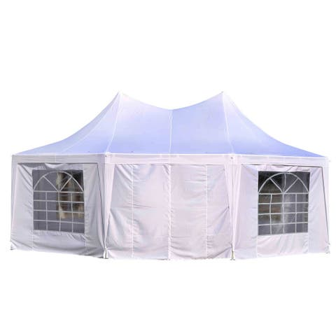 Outsunny 22' x 16' Large UV Resistant Octagonal 8-Wall Party Canopy Gazebo Tent With Removable Side Walls