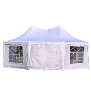 Outsunny White 22-inch x 16-inch Large Octagon 8-wall Party Canopy Gazebo Tent
