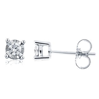 Annello by Kobelli 14k White Gold 1/6ct TDW Diamond Illusion Stud Earrings (G-H, I1-I2)
