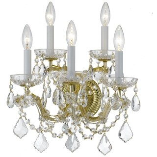 Crystorama Maria Theresa Collection 5-light Gold/Swarovski Elements Spectra Crystal Wall Sconce