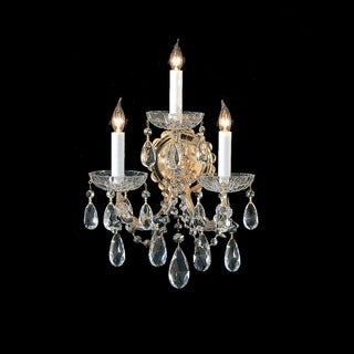 Crystorama Maria Theresa Collection 3-light Gold/Crystal Wall Sconce