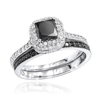 Luxurman 10k Gold 1 1/5ct TDW White and Black Diamond Unique Bridal Ring Set (H-I, SI1-SI2)