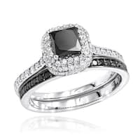 Luxurman 10k Gold 1 1/5ct TDW White and Black Diamond Unique Bridal Ring Set