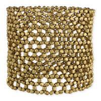 Handmade Artisan Wide Metal Beaded  Open Weave Stretch Bracelet (India) - Gold