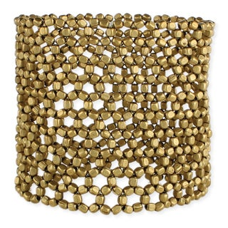 Handmade Artisan Wide Metal Beaded Open Weave Stretch Bracelet (India) - Gold
