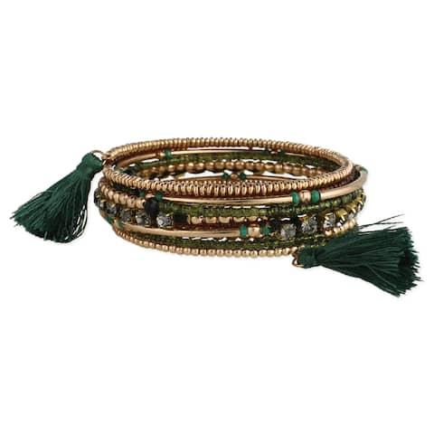 Handmade Artisan Rose Beaded Green Tassels Coil Wrap Bracelet (India)