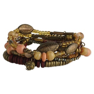 Handmade Artisan Earth-tone Glass Beads 7 strand Bracelet (India)