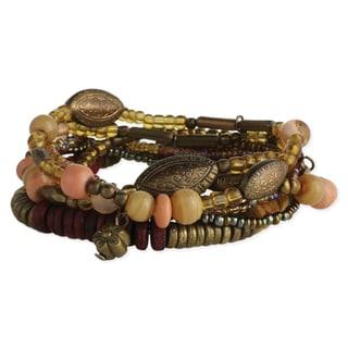 Handmade Artisan Earth-tone Glass Beads 7 strand Bracelet (India)