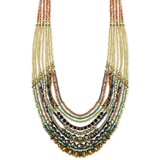 Handmade Artisan Multi-layered Copper and Gold Glass Bead Necklace (India)