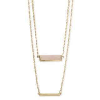 Handmade Artisan 2 Line Gemstone and Gold Bar Layered Necklace (India)