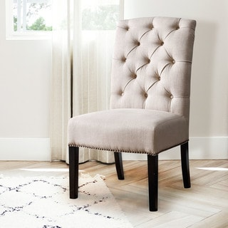 Abbyson Sierra Tufted Cream Linen Dining Chair