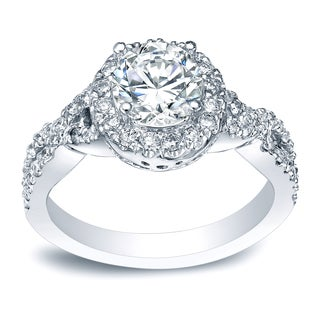 Auriya Platinum 1 1/2ct TDW Certified Round Diamond Halo Engagement Ring
