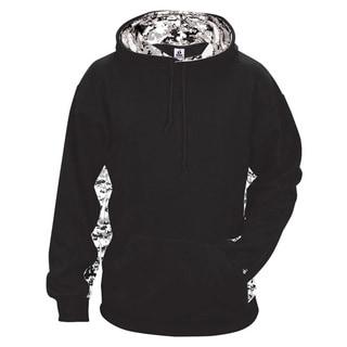 Digital Color Block Men's Performance Black/White Digital Hoodie(S, XL)