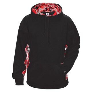 Digital Color Block Men's Performance Black/Red Digital Hoodie(S, XL)