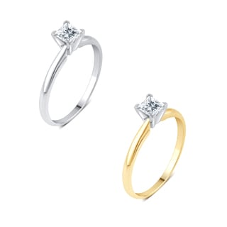 Divina 14K Gold 1/4ct TDW Princess-Cut Solitaire Diamond Engagement