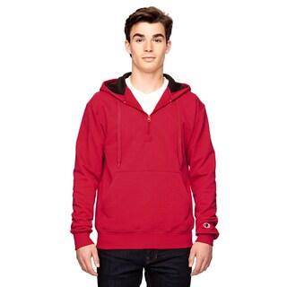Men's Quarter-Zip Sport Red Hood(S, XL)