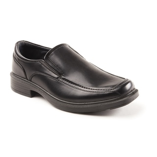 Soft Stags Men's Mason Black Faux Leather Twin-gore Slip-on Dress Shoes