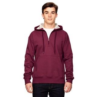 Men's Quarter-Zip Sport Maroon Hood(S, XL)