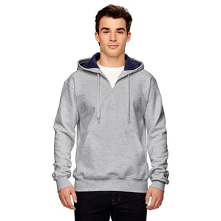 Men's Quarter-Zip Athletic Heather Hood(S, XL)