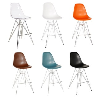 Eames-Style Counter Stool with Chrome Eiffel Legs