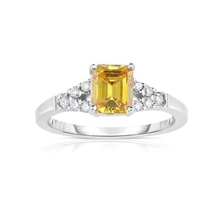 Solaura Collection 14k White Gold 1 1/10ct TW Emerald Cut Lab-Grown Diamond Ring (Fancy Yellow, SI)