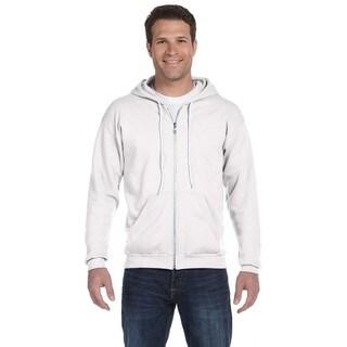 Men's Full-Zip Hooded White Fleece