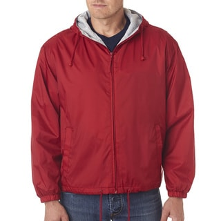 Men's Red Fleece-Lined Hooded Jacket