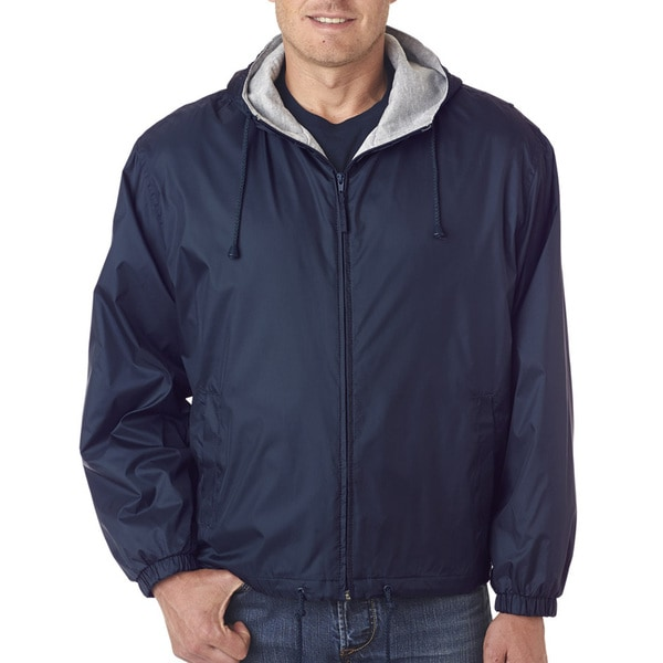 Mens Navy Fleece-Lined Hooded Jacket (XL)