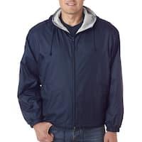 Men's Navy Fleece-Lined Hooded Jacket (XL)