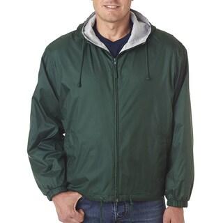 Men's Forest Green Fleece-Lined Hooded Jacket (XL)