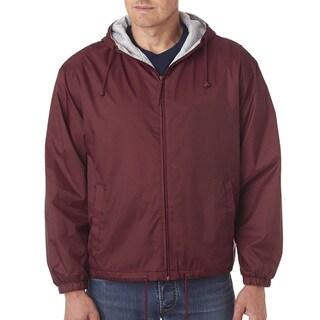 Men's Burgundy Fleece-Lined Hooded Jacket (XL)