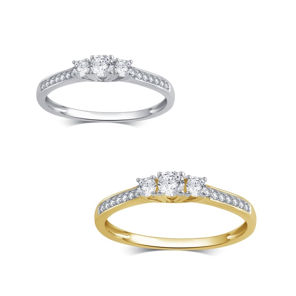 Divina 10K Gold 1/4ct TDW Diamond 3 Stone Plus Anniversary Ring
