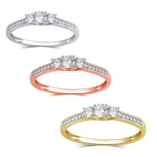 Divina 10K Gold 1/4ct TDW Diamond 3 Stone Plus Anniversary Ring (More options available)