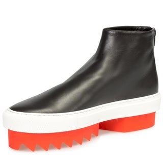 Givenchy Leather High-Top Platform Skate Sneaker in Black with Orange Heel
