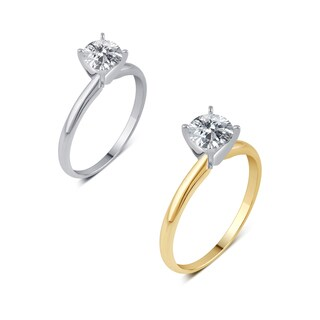 Divina 14K White and Yellow Gold 1/2ct TDW Round Solitaire Diamond Engagement Ring