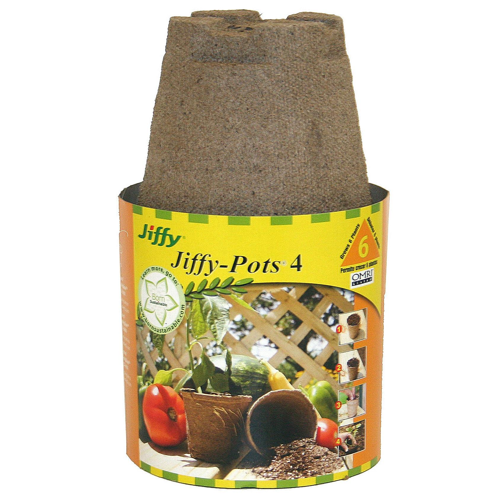Jiffy JP406 4-inch Round Jiffy Pots (Plant Starters), Bro...