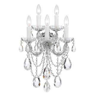 Crystorama Maria Theresa Collection 5-light Polished Chrome/Swarovski Strass Crystal Wall Sconce