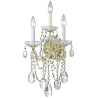 Crystorama Maria Theresa Collection 3-light Gold/Swarovski Strass Crystal Wall Sconce