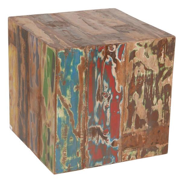 Handmade Reclaimed Boat Wood Cube Stool / Table (Indonesia)